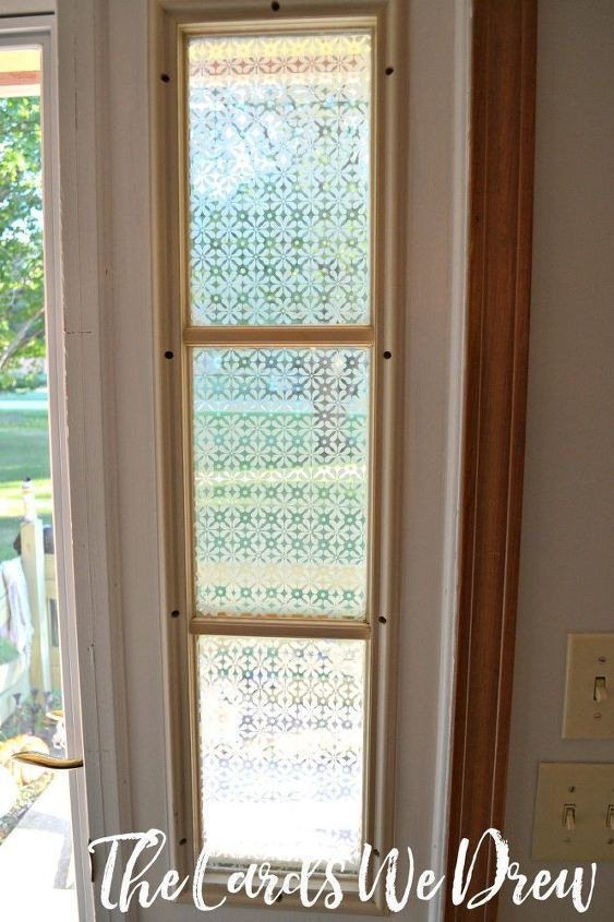 Glass Etched Front Door Side Window Crafts Doors How To Window Treatments Windows In 2020 Front Door Side Windows Curtains Window Coverings