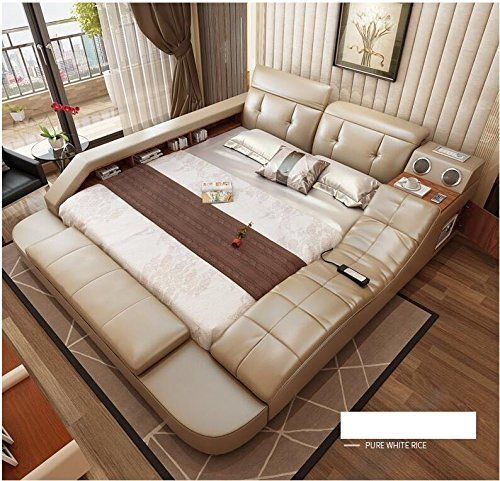 All In One Leather Double Bed Frame With Speakers Storage Safe Perfect Relaxation Color White 180x200cm Doo