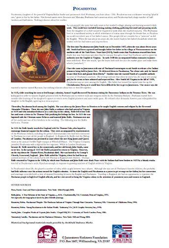 jame learn historyculture pocahontas life legend