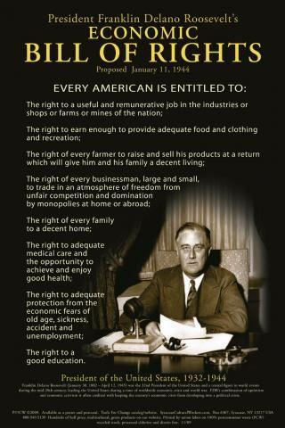 Postcard - Franklin Delano Roosevelt's Economic Bill Of Rights