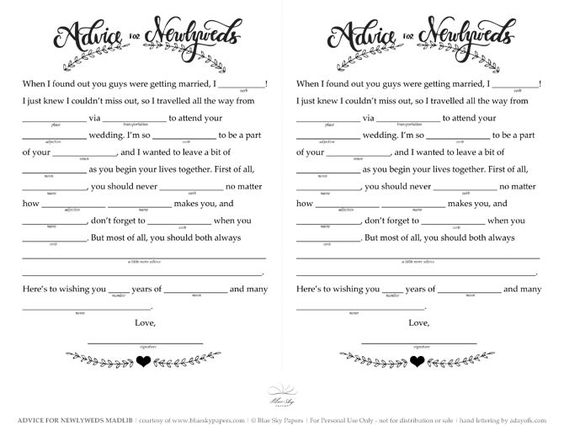 Free Wedding Mad Libs Printable by Blue Sky Papers