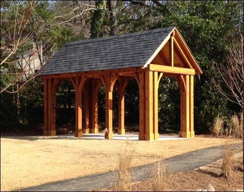 Custom 14 x 22 open gable roof cedar pavilion shown with for Cedar pavilion plans
