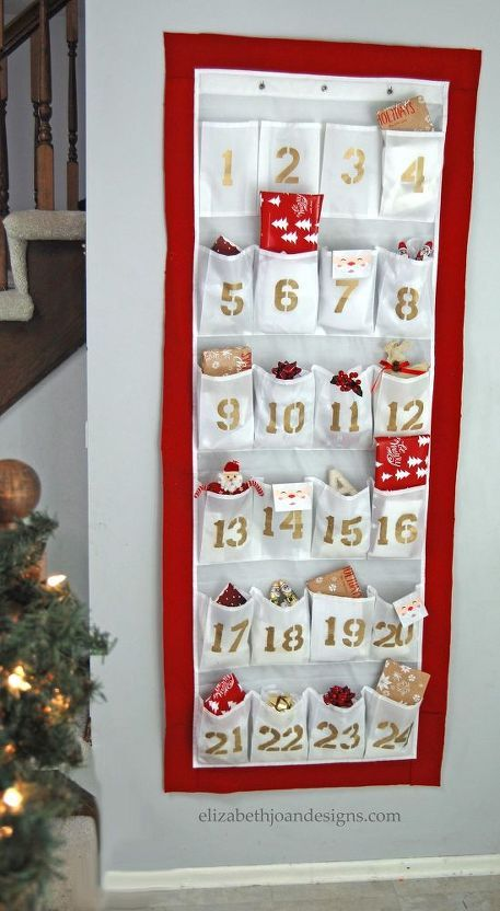 diy advent calendar made from a shoe organizer
