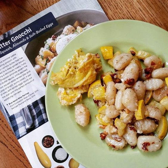 I think this may be my favorite yet. Brown Butter Gnocchi with squash & almonds. The recipe called for soft boiled egg & neither of us like that, so I scrambled & it was delicious. Thanks #blueapron for an amazing #dinner!! #ChefBelle #getinmybelly #gnocchi #vegetarian: