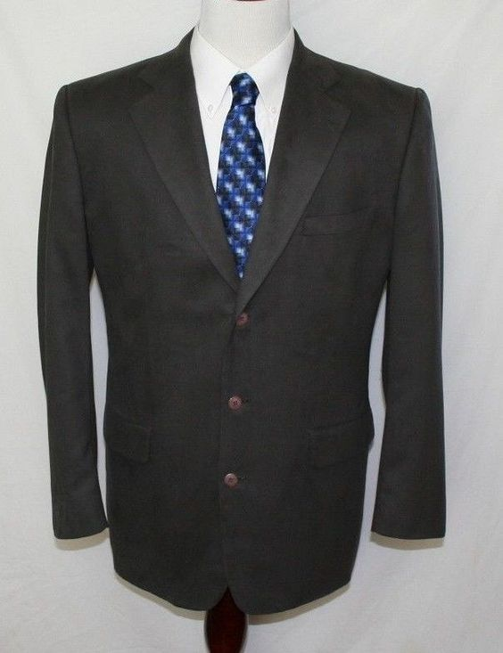 Stafford Mens 42 Long Grey Faux Suede Sport Coat Blazer Microfiber