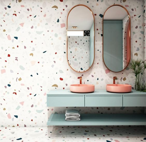 "Pickawall on Instagram: ""TREND ALERT‼️ Terrazzo patterned wallpaper. ✨Tell us what you think....!?? Do you LOVE ?or not for you!?⁠ Click the link in our bio to…"""