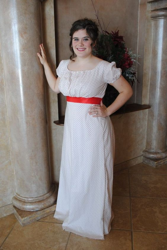 White Red Green Regency Day Gown with red satin sash
