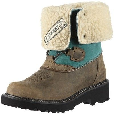 Ariat Winter Boots Womens Fatbaby Summit Brown Turquoise 10011869