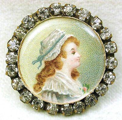 Antique Lithograph Under Glass Button Woman w/ Fancy Prong Set Paste Border