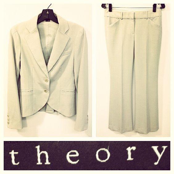 Theory $675 light taupe/beige suit 'Branden' blazer & 'Max C' pants sz.S/XS @resaleriches price: $140 www.resalerichesnyc.com
