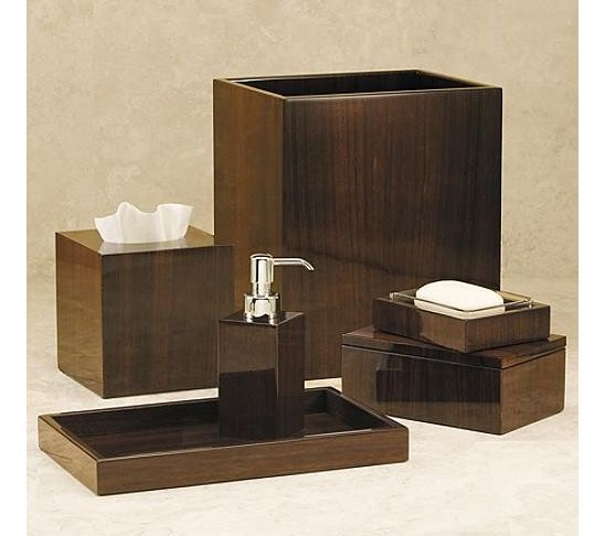 Dark wood bathroom accessories things that don 39 t fit in for Bathroom vanity accessory sets