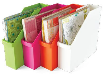 """Plastic vertical files in fun colors for 12"""" x 12"""" paper. Fit perfectly in the IKEA Expedit bookshelf!  From Creating Keepsakes magazine. #organize #organization #creatingkeepsakes #scrapbooking #scrapbook"""