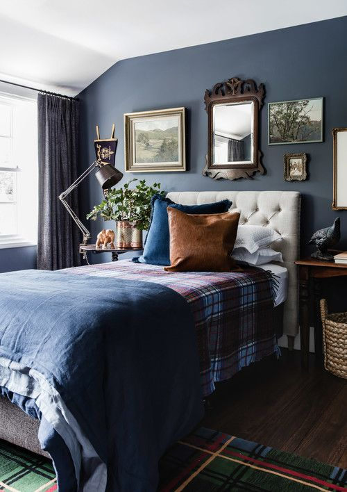 Mad For Plaid 11 Decorating Ideas Town Country Living Dark Blue Bedrooms Blue Bedroom Decor Blue Bedroom Walls