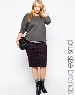 Plus Size Tartan Plaid Pencil Skirt #plus #size #fashion   Plus ...