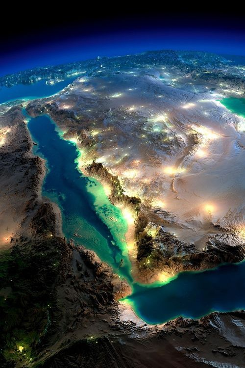 Lovely view of the Red Sea, the Gulf of Aden, the Arabian Penninsula, and the curve of the Levantine Coast.