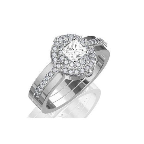 1.67 Carat Princess Cut Diamond Wedding Ring Set on 18K White Gold FineTresor. $10483.17. Diamond Color: I-J. Center Dimond Carat Weight: 1.00. Metal: 18 K White Gold. Center Diamond Cut: Princess. Diamond Clarity: I1-I2
