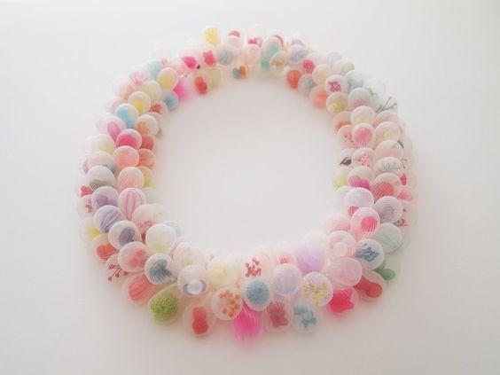 "MARIKO KUSUMOTO NECKLACE Polyester, thread 8"" x 8"" x 1.2"":"