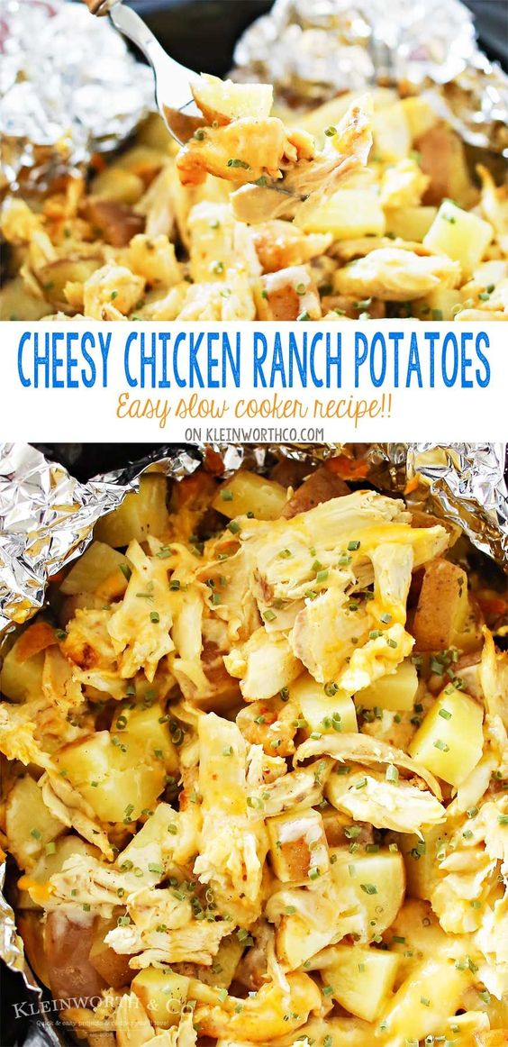 Cheesy Chicken Ranch Potatoes are a simple slow cooker side dish recipe that's so delicious. Just another easy family dinner idea that's ready in just 4 hours. OMG- these are SO GOOD! LOVE that this recipe is family size & uses rotisserie chicken!