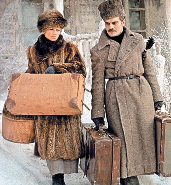 """Soviet Siren - To play a Russian seamstress turned nurse in Dr. Zhivago (1965), Julie Christie wore an immaculate wardrobe by costume designer Phyllis Dalton. Known as the """"Zhivago look,"""" her early-20th-century Russian outfits inspired designers such as Yves Saint Laurent and Christian Dior, who incorporated furs, silk breading, and boots into their collections."""