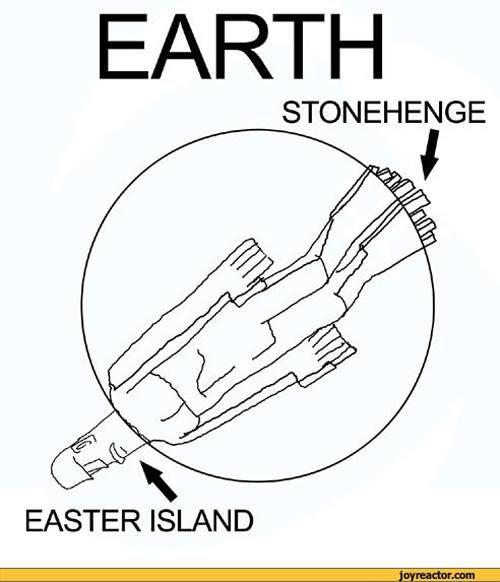Stonehenge and Easter Island.