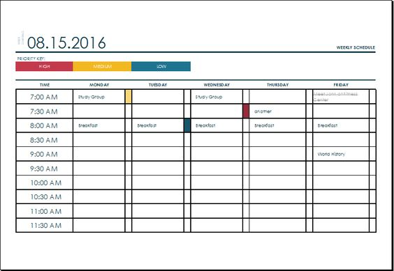 weekly college schedule template at xltemplatesorg Microsoft - timetable template