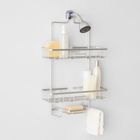 Wide Rustproof Shower Caddy With Lock Top Aluminum Made By Design In 2020 Shower Caddy Shower Organization Shower Hose