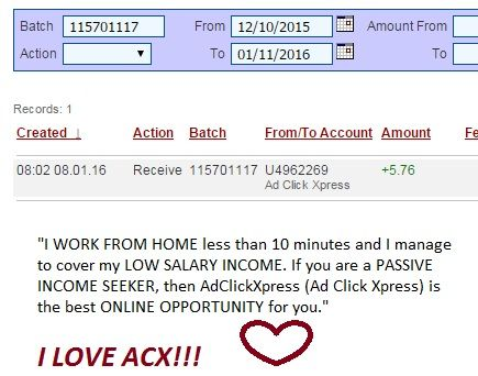 "ACX Proof of payment number 49 Here is proof of my latest withdrawal. This is not a scam and I love making money online with ACX. ""Here is my Withdrawal Proof from Ad Click Xpress. I get paid daily and I can withdraw daily. Online income is possible with ACX, who is definitely paying - no scam here."" ""I WORK FROM HOME less than 10 minutes and I manage to cover my LOW SALARY INCOME. If you are a PASSIVE INCOME SEEKER, then AdClickXpress (Ad Click Xpress) is the best ONLINE OPPORTUNITY for…"