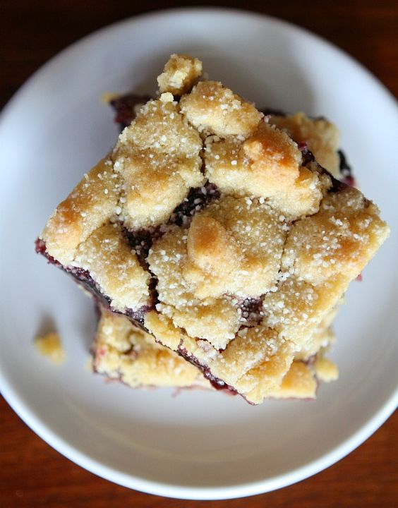 """RecipeGirl states that Blackberry Jam Shortbread Bars """"were the hands-down favorite of all the desserts at the barbecue."""" Looking for some blueberry shortbread recipes? Check out Walkers' Blueberry Crumble: http://home.walkersus.com/recipe/Blueberry_Crumble/609.aspx #summerrecipe"""