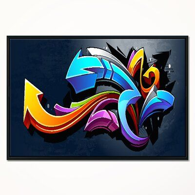 East Urban Home Direction Street Framed Graphic Art Print On Wrapped Canvas Size 32 H X 42 W X 1 5 Graffiti Canvas Art Street Art Graffiti Street Graffiti