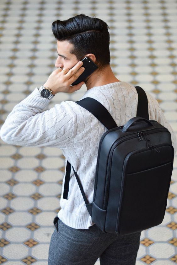 Salzen-Lederrucksack-Marken-Designer-Mcm-Gusti-Leder-Mann-Telefon-Iphone-Schwarzer-Backpack