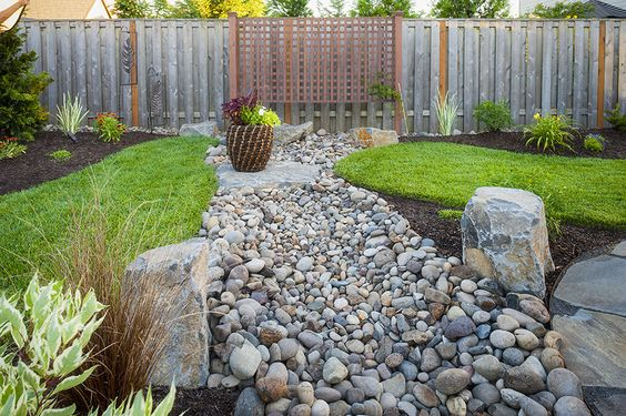 Dry creek bed dry creek and exterior design on pinterest for Paradise restored landscaping exterior design