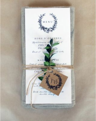 So easy to do! Tag can be a place card as well and an easy way to keep all fonts the same from invitations all the way through. Use flowers that will match your theme :)