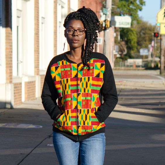 Made with fleece and ankara wax cotton  Jacket pictured is a Ladies fit small. Ladies fit is semi slim fit with a slight wide collar. Will look great over scoop neck & v-neck tees!  Made to order, ships within 3-5 business days