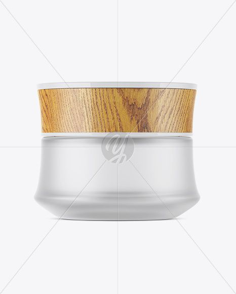 Frosted Glass Cosmetic Jar W Wooden Lid Mockup In Jar Mockups On Yellow Images Object Mockups Cosmetic Jars Cosmetics Mockup Glass Jars