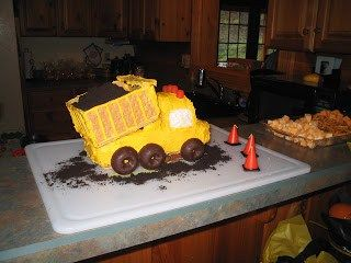 A Dump Truck Birthday Cake: Made from… 1 and 1/4 Sara Lee Pound Cakes (use the…