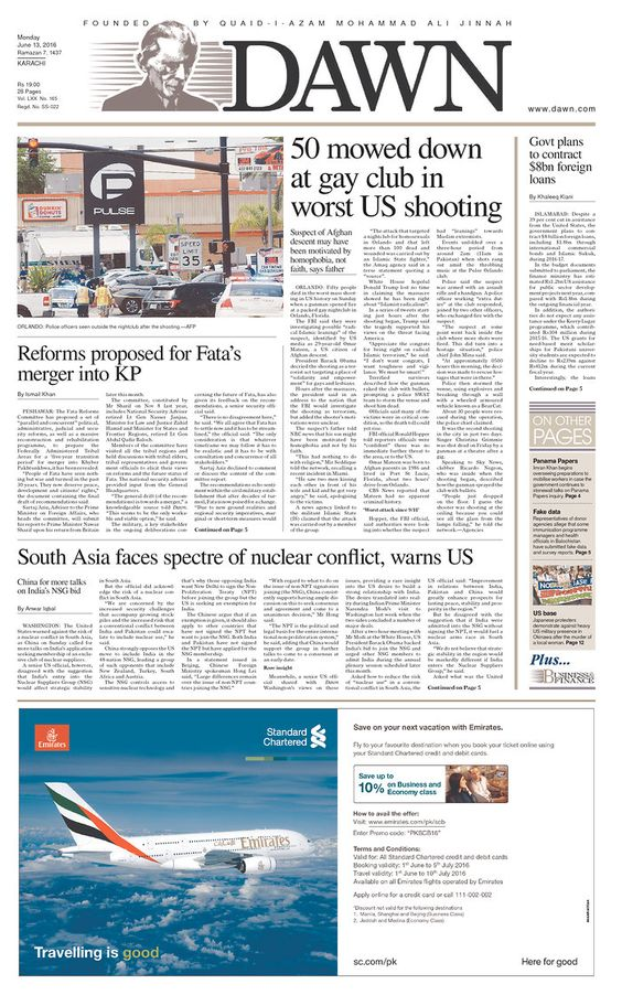 Dawn | Today's Front Pages | Newseum