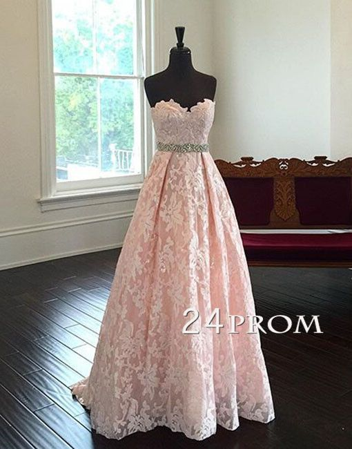 Sweetheart Neck Lace Light Pink Long Prom Dresses, Evening Dresses ...