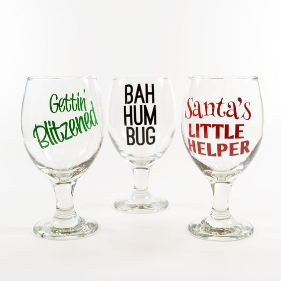 Decorate wine glasses with fun holiday sayings create for Where to buy vinyl letters for wine glasses