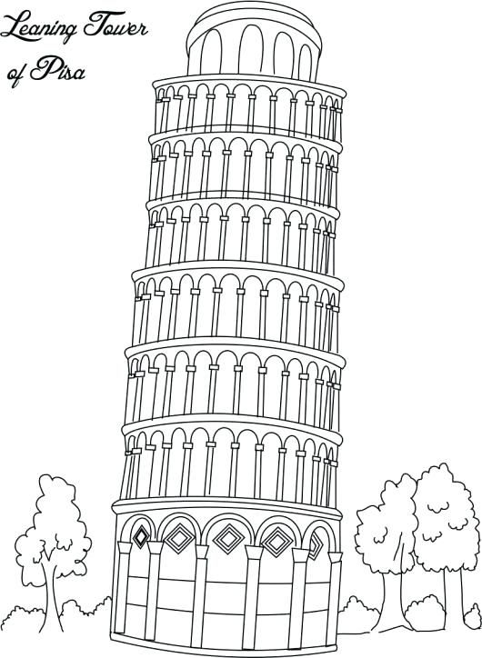 Leaning Tower Of Pisa Coloring Page Google Search Coloring