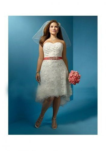 Net With Re Embroidered Lace Strapless Plus Size A-line Style With Exqusite Beaded Waist Belt In High Low Hemline 2011 Hot Sell