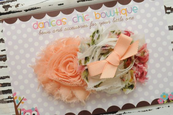 Double shabbypeach and floral shabby's on by DanicasChicBowtique, $9.00- love the colors!