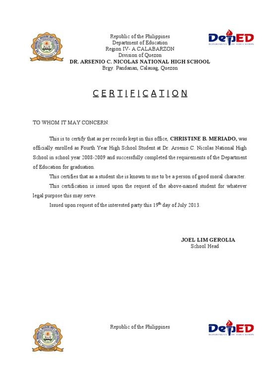 Sample of good moral certificate for a student images certificate sample letter of good moral character for student gallery sample certificate of good moral character in yadclub Choice Image