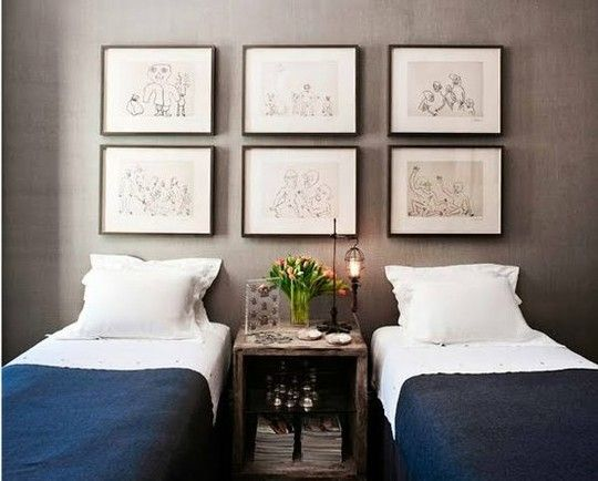 Gray walls #gallery #wall #framed #twin #beds #guest #room #bedroom