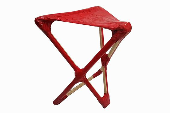 haviv   fieldman create honest DIY chair from duct tape   broomsticks - designboom | architecture