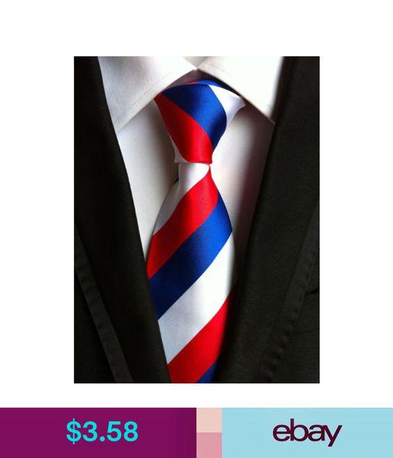 XT067 luxury mans neck tie 100/% silk wedding party white red blue stripe ties