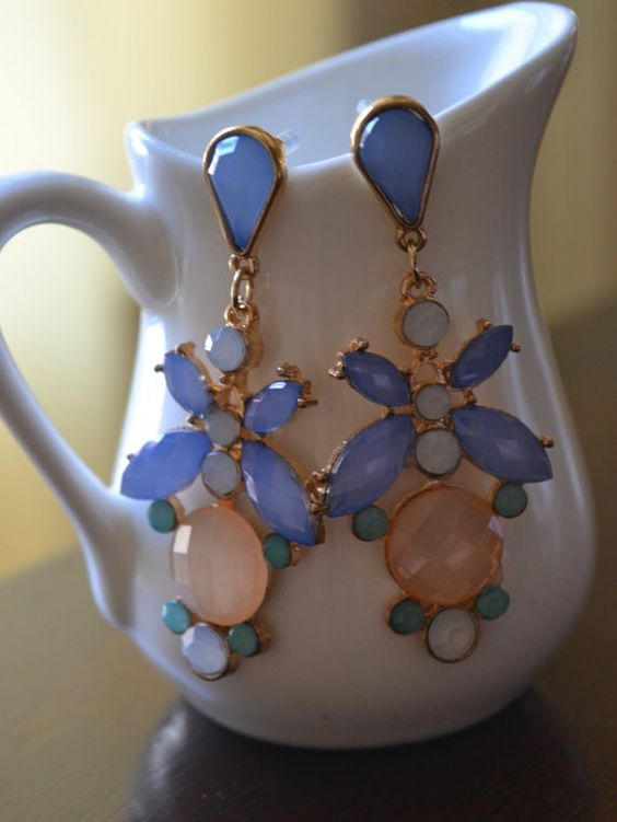 Statement Multi Color Chandelier Earrings Opal by GlamNecessities
