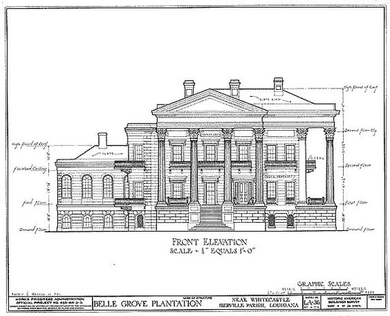 "Giclee Print Belle Grove Architectural Drawing Blueprint 18"" x24"". $15.00, via Etsy."