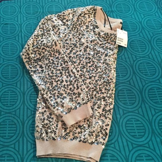 NEW H & M MED Sweater. Medium tan sweater embellished with silver circles H&M Sweaters Crew & Scoop Necks