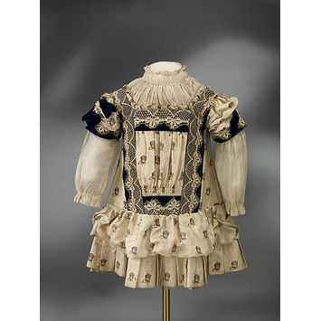 Child's Dress, England, c 1885. printed silk. Victoria & Albert Museum.