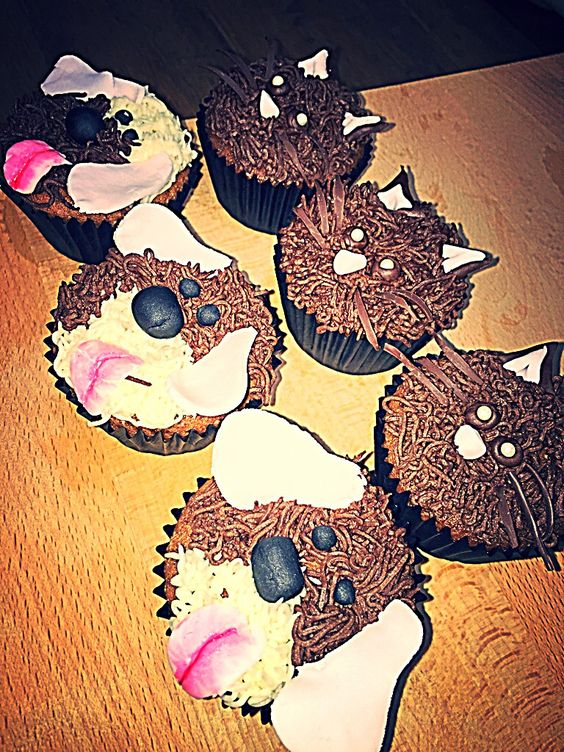 Cat & Doggy cupcakes made to raise money for charity!  Chocolate cupcakes with chocolate/ vanilla buttercream!